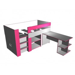 Spacesaver low height loft bed - Pretty in pink!
