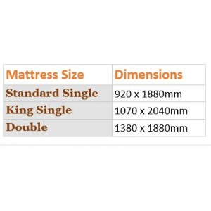 Our Range of kids beds and standard Mattress sizes