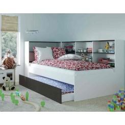 Benalla Single Trundle Bed with wrap around storage shelves