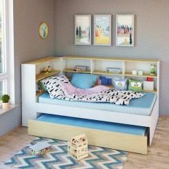 Benalla Single Trundle Bed with wrap around storage shelves