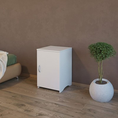 Bed side table with adjustable shelf and door