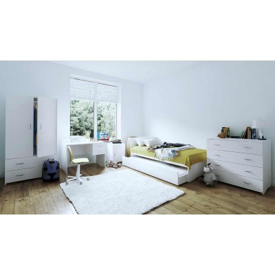 Value Bundle: Trundle bed, Bedside Table, Desk, Tallboy & Wardrobe!