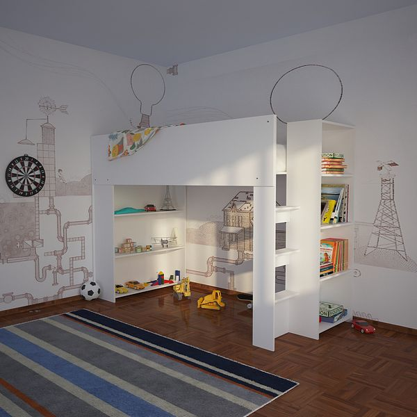 Cubby House Bunk Bed With Open Shelves