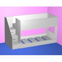 Low mid height bunk bed with - with easy climb steps!