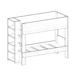 Lower height of bottom bunk by 100mm - Bunk Bed with Bookshelf & optional trundle