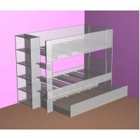 Bunk Bed with built in Bookshelf & optional trundle or drawers