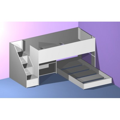 Low Loft bed with transverse lower bed - with easy climb steps!