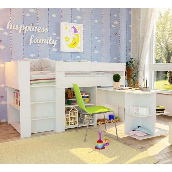 Kids Loft Bed With Desk & Cupboards