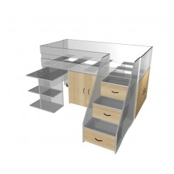 Spacesaver with cupboards and drawers 2 tone colour and double mattress size