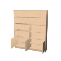 Bookshelf with 2 Sections 4 Doors
